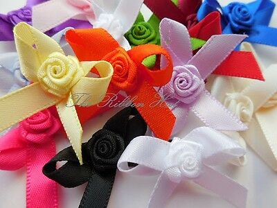 £1.85 • Buy 3cm Bows With Rose Buds-Pkt 10/25(7mm Ribbon)Embellishment,Craft Supplies