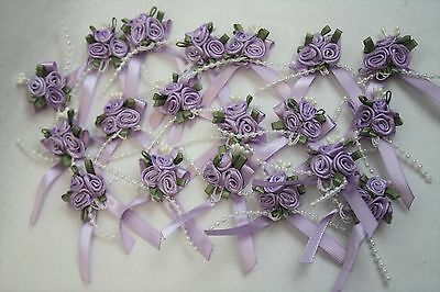 3cm Satin Ribbon Bow With 3 Rose Cluster And Beads X 20 Lilac • 6.50£