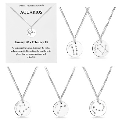 £8.95 • Buy Silver Star Sign Zodiac Disc Necklace Embellished With Crystals From Swarovski®