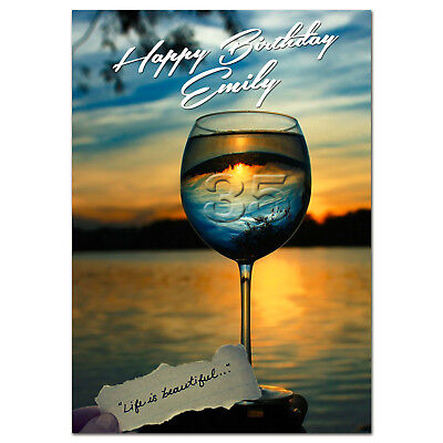 G016 Large Personalised BIRTHDAY CARD Printed With Your Text; Glass Of Life Wine • 3.75£