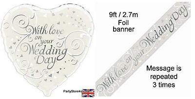 With Love On Your Wedding Day  18  Heart Shaped Foil Balloon And Foil Banner • 4.35£