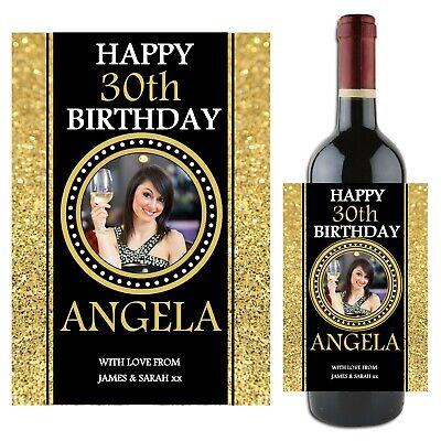 Personalised Happy Birthday Wine Champagne Bottle Label N84 18th 21st 30th 40th • 3£