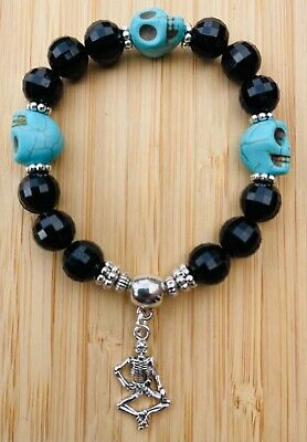 £3.99 • Buy Skull Bead Stretchy Bracelet - Silver Colour Skeleton Charm Wicca Gothic Pagan