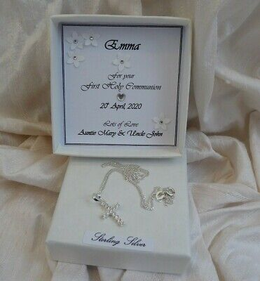 First Holy Communion Gift Sterling Silver Cross Set With Cz Personalised Box • 13.95£