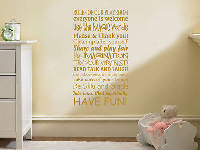 Child's, Nursery, Playroom Wall Quote,  Rules Of Our Playroom  Sticker. • 14.95£