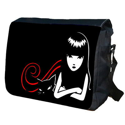 Emily Strange Cat School College Personalised Shoulder Messenger Bag • 16.99£