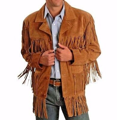$129.99 • Buy Mens Traditional Leather Western Wear Brown Suede Leather Jacket Fringe Buttons