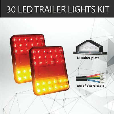 AU39.95 • Buy Pair Of 30 LED TRAILER LIGHTS KIT - 1x NUMBER PLATE LIGHT, 8M X 5 CORE CABLE 12V