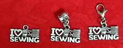 $1.69 • Buy Antique Silver I Love Sewing Charm - Singer - Sewing Machine-thread - Seamstress