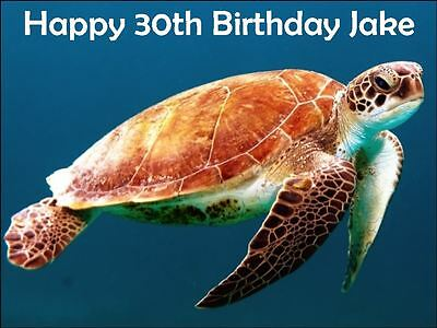 £3.49 • Buy Turtle Sea Animal A4 Personalised  Edible Cake Topper Wafer Icing Decoration