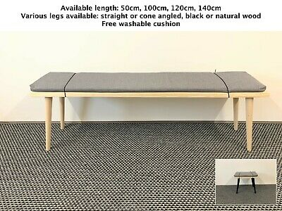 Wooden Bench Kitchen Dining Cone 16  Legs Scandinavian Style Bench Free Cushion  • 43£