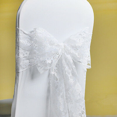 £0.99 • Buy 50/100 White Lace Bow Sash For Chair Cover Sashes For Wedding Banquet Party Bow