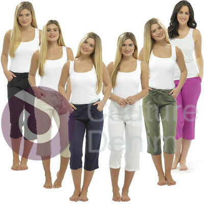 Ladies Cropped Linen Trousers Womens 3/4 Length Shorts UK Size Pants Bottoms • 11.99£