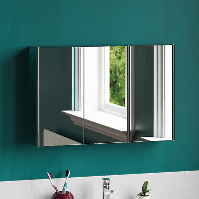 Tiano Triple Door Stainless Steel Mirrored Wall Mounted Bathroom Cabinet • 47.90£