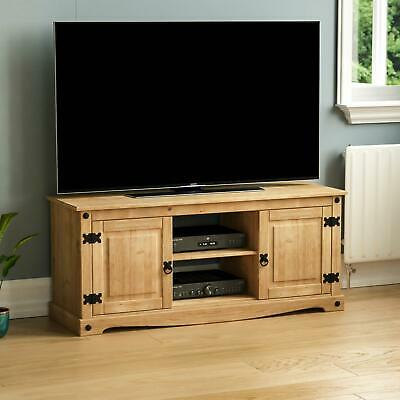 Corona 2 Door 1 Shelf Flat Screen TV Unit Mexican Solid Waxed Pine Display Stand • 68.90£