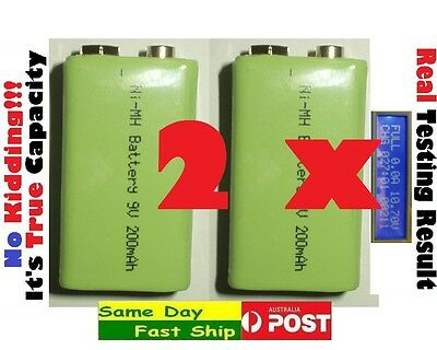 AU19.98 • Buy .2 X High Quality 9V 200mAh (True, NOT Fake) Ni-MH NiMH Rechargeable Battery AU