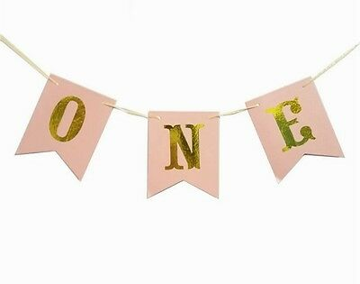 AU12.95 • Buy 1st Birthday One Banner Bunting Pink With Metallic Gold Girl Birthday Party