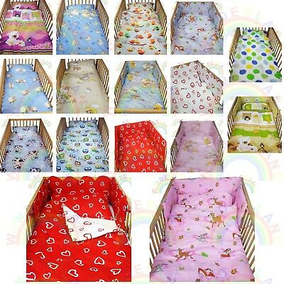 Cot Bedding Set 2 PIECE Baby BED SET DUVET Cover PILLOW Case FITTED SHEET • 10.99£