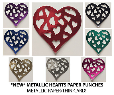 HEART (METALLIC) EMBELLISHMENTS - Paper Punches 140gsm MULTI LISTING! 30 Pieces • 1.50£