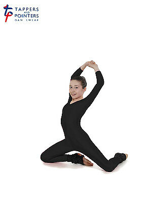 T&P Long Sleeved All In One Catsuit Scoop Neckline Stirrup Foot Black Dance Acro • 25.99£