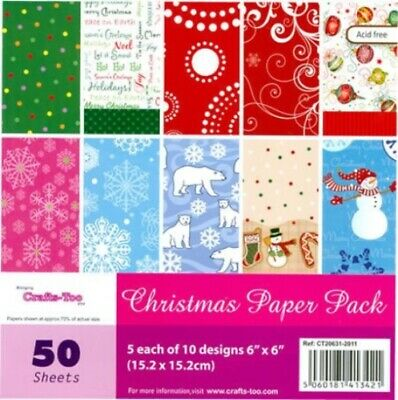 £7.58 • Buy Crafts Too Christmas Paper Stack 6  X 6  50 Sheets - 10 Designs