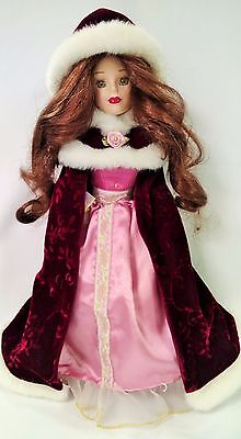 $ CDN33.05 • Buy Porcelain Doll Of A Young Lady With Formal Gown & Red Velvet Cape & Hood - NM