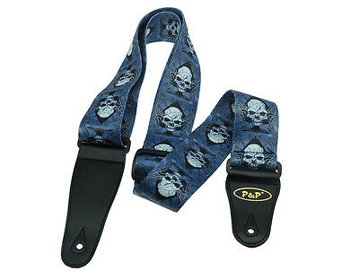 $ CDN7.56 • Buy Soft Polyester Acoustic Electric Guitar Strap Adjustable Strap Blue With Skull
