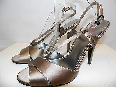 NEW & Boxed JONES Taupe Satin JAX High Strappy Peep Toe Shoes Sandals 41 UK 8  • 14.99£