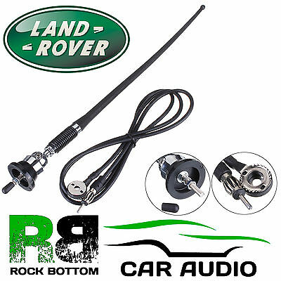 LANDROVER AM/FM Rubber Mast Roof/Wing Mount Car Radio Aerial Antenna CHROME • 8.95£