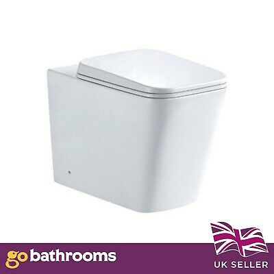£148.35 • Buy Designer Square Modern BTW Toilet Pan Short Projection Compact Back To Wall Seat