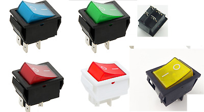 5 COLOUR Rocker Switch 16A 240V, 20A 125V  ON-OFF Double Pole 4 Pin  ILLUMINATED • 3.99£