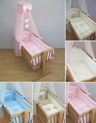 Deluxe Crib Bedding Accessories / Cradle Bumper Set, Canopy, Holder • 25.99£