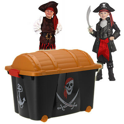 Pirates Treasure Chest Large Kids Boys Bedroom Storage Toy Box Playroom Laundry • 14.99£