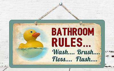 £7.32 • Buy 605HS Rubber Duck Bathroom Rules 5 X10  Aluminum Hanging Novelty Sign