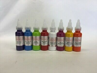Aqueous Tattoo Ink Violet, Blue, Green, Red, Pink, Yellow, Orange 15/30ml Bundle • 19.99£