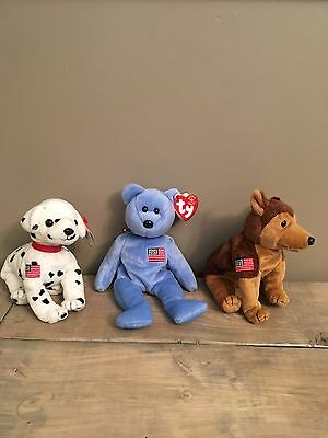 $1500 • Buy Ty Beanie Baby Rare Collection- 9/11/2001 Beanies-  Rescue -  Courage - America