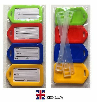 £2.55 • Buy 4 X LUGGAGE ID TAGS Plastic Labels Name Address Suitcase Holiday Travel Set PACK