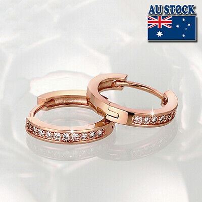 AU9.95 • Buy Elegant 18K Rose Gold Filled GF GP Huggie Hoop Earrings With SWAROVSKI Crystal
