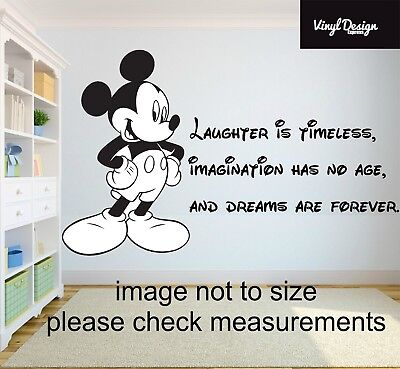 Disney Mickey Mouse Laughter Is Timeless Quote Vinyl Wall Art Sticker • 8.50£