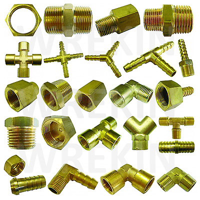 Brass Pipe Fitting Barbed Hosetail Joiner Tubing Connector Air Water Fuel Gas   • 4£