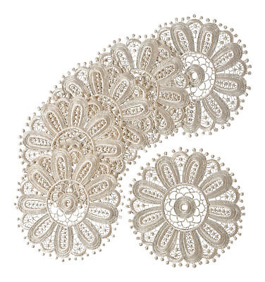 Cream Floral Lace Round Doilies Pack Of 6 Traditional Table Dressing Home Mats • 6.79£