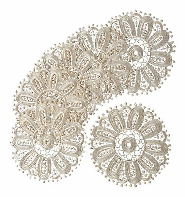 Cream Floral Lace Round Doilies Pack Of 6 Traditional Table Dressing Home Mats • 6.99£