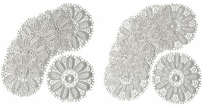 White Floral Lace Round Doilies Pack Of 6 Traditional Table Dressing Home Mats • 6.99£