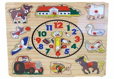 £4.95 • Buy Childs Wooden Teach Clock Childrens Learning Numbers Peg Puzzle Teaching Toy