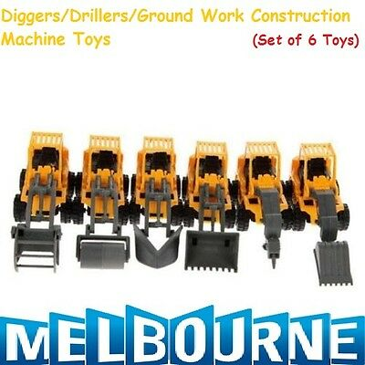 AU25.95 • Buy CONSTRUCTION PARTY FAVOURS TOY VEHICLES TRUCKS TRACTOR DIGGERS Boy Set Of 6 Gift