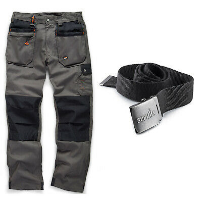 Scruffs WORKER PLUS Work Trousers And CLIP BELT Graphite Grey (All Sizes) Men's • 33.95£