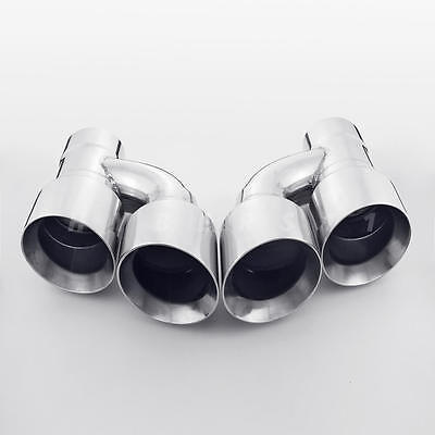$ CDN212.98 • Buy Pair Offset Quad Dual Wall 4  Out 3  In Exhaust Tips Angle Cut Stainless Steel