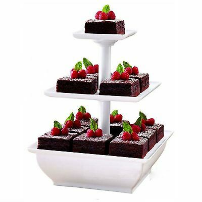 £9.95 • Buy White 3 Tier Cake Stand Plastic Cupcake Wedding Party Display Dessert Stand