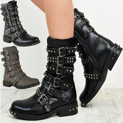 Womens Ladies Studded Ankle Boots Buckle Western Biker Strappy Flat Shoes Size • 27.99£