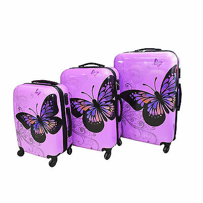 Purple Butterfly 4 Wheel Hard Shell Suitcase PC Luggage Trolley Case In 3 Sizes • 29.99£
